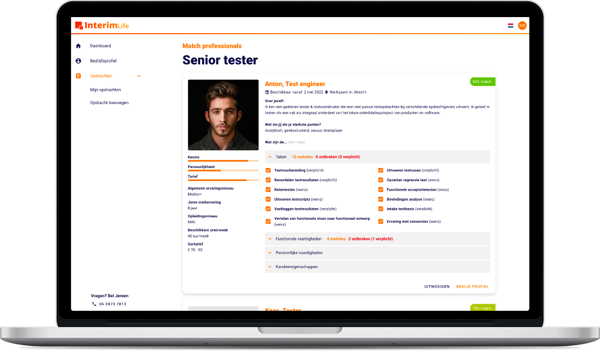 Het InterimLife platform op desktop