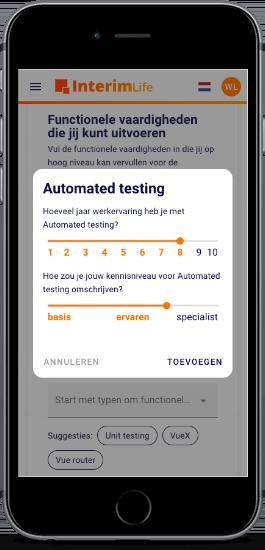 Het InterimLife platform op mobiel